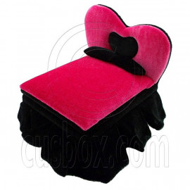 Black Pink Heart New Plush Double Bed Jewelry Box 1:6 Barbie Dollhouse Furniture