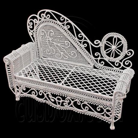 White Wire Chaise Longue Long Sofa Sleeper 1:12 Doll's House Dollhouse Furniture