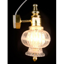 Gold Oil Lantern 9V 12V Wall Lamp Dollhouse Miniature