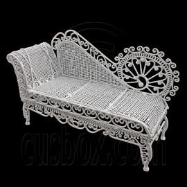 White Wire Chaise Longue Long Sleeper Sofa 1:12 Doll's House Dollhouse Furniture