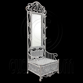White Wire Vanity Cabinet Long Mirror 1:12 Doll's House Dollhouse Furniture