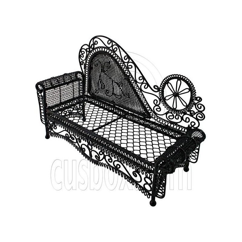 Black wire chaise longue long sofa sleeper 1 12 doll 39 s for Chaise long sofa