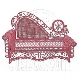 Pink Wire Chaise Longue Long Sofa Sleeper 1:12 Doll's House Dollhouse Furniture