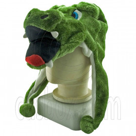 Crocodile Cute Green Animal Fur Mascot Plush Costume Halloween Ball Hat Cap Mask