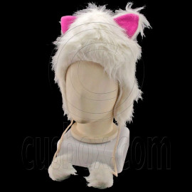 White Cat Pink Ear Fur Mascot Plush Costume Halloween Party Ball Hat Cap Mask