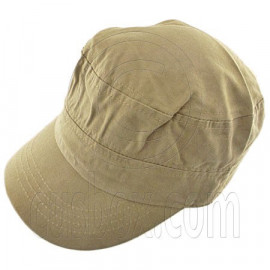 Military Cap with Button (LIGHT BROWN)