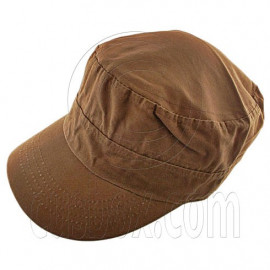 Military Cap with Button (BROWN)