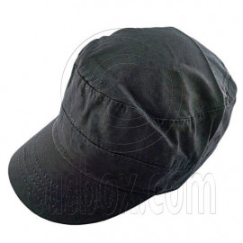 Military Cap with Button (BLACK)