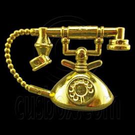 Vintage Gold Desk Ringing Telephone 1/6 Barbie Doll's House Dollhouse Miniature