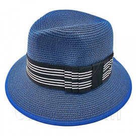 Fedora Style Braid Trim Striped Hat (DARK BLUE)