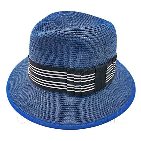 Fedora Style Braid Trim Striped Hat (DARK BLUE)