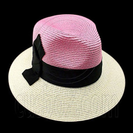 Wide Brim Fedora Braid Trim Hat (PINK WHITE)