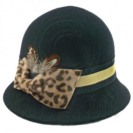 Wool Felt Vintage Style Cloche with Cheetah Bow Hat BLACK