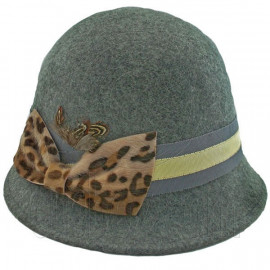 Wool Felt Vintage Style Cloche with Cheetah Bow Hat GRAY
