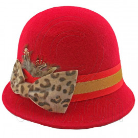 Wool Felt Vintage Style Cloche with Cheetah Bow Hat RED