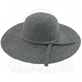 Wool Felt Vintage Style 10cm / 4inch Wide Brim Hat GRAY