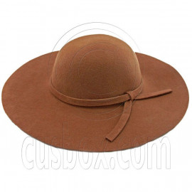 Wool Felt Vintage Style 10cm / 4inch Wide Brim Hat BROWN