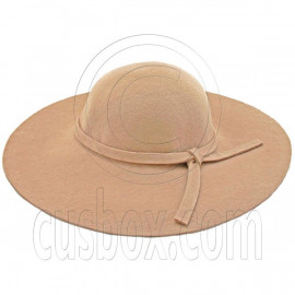 Wool Felt Vintage Style 10cm / 4inch Wide Brim Hat LIGHT BROWN
