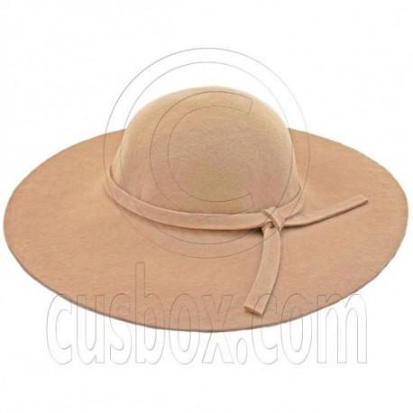Wool Felt Vintage Style 10cm / 4inch Wide Brim Hat LIGHT BROWN
