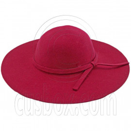 Wool Felt Vintage Style 10cm / 4inch Wide Brim Hat BURGUNDY RED