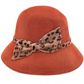 Wool Felt Vintage Style Lady Cloche with Cheetah Bowler Hat BROWN