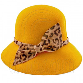 Wool Felt Vintage Style Lady Cloche with Cheetah Bowler Hat YELLOW