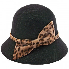 Wool Felt Vintage Style Lady Cloche with Cheetah Bowler Hat BLACK