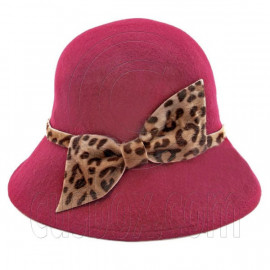 Wool Felt Vintage Style Lady Cloche with Cheetah Bowler Hat BURGUNDY RED