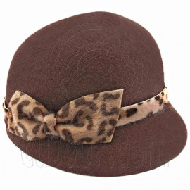 Wool Felt Lady Women Jockey Cap with Cheetah Bowler Hat DARK BROWN