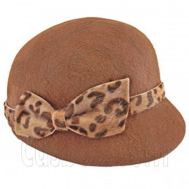 Wool Felt Lady Women Jockey Cap with Cheetah Bowler Hat BROWN