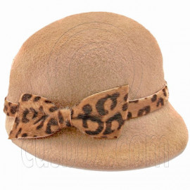 Wool Felt Lady Women Jockey Cap with Cheetah Bowler Hat LIGHT BROWN