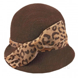 Wool Felt Lady Women Cloche with Cheetah Bowler Hat Thick Brim DARK BROWN