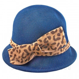 Wool Felt Lady Women Cloche with Cheetah Bowler Hat Thick Brim BLUE