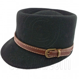 Wool Felt Lady Women Vintage Cap Hat with BLACK