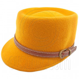 Wool Felt Lady Women Vintage Cap Hat with YELLOW