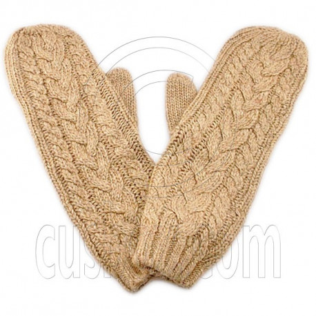 Men's Wooly Mittens Gloves with Cable Pattern (BROWN)