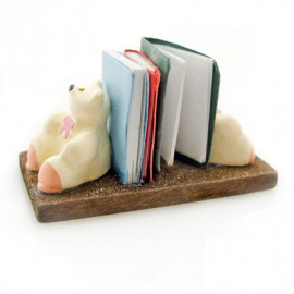 Wooden Polar Bear Book Support Rack Dollhouse Miniature