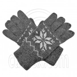 Men's Full Finger Wooly Cuff Gloves w/ Fluffy Lining (GRAY SNOWFLAKE)