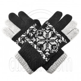 Men's Full Finger Wooly Cuff Gloves w/ Fluffy Lining (BLACK SNOWFLAKE N2)