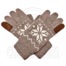 Men's Full Finger Wooly Cuff Gloves w/ Fluffy Lining (MEDIUM BROWN SNOWFLAKE)
