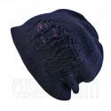 Warm Double Layer Wooly Slouchy Beanie Hat w/ Striped Pattern (DARK BLUE purple)