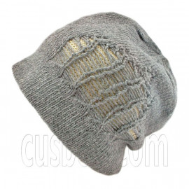 Warm Double Layer Wooly Slouchy Beanie Hat w/ Striped Pattern (GRAY beige)