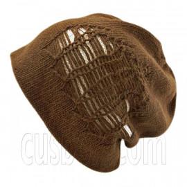 Warm Double Layer Wooly Slouchy Beanie Hat w/ Striped Pattern (DARK BROWN WHITE)