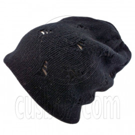 Warm Double Layer Wooly Slouchy Beanie Hat w/ Mutli Hole Pattern (BLACK white)