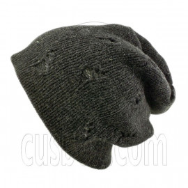 Warm Double Layer Wooly Slouchy Beanie Hat w/ Mutli Hole Pattern (DARK GRAY gray)
