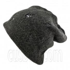 Warm Double Layer Wooly Slouchy Beanie Hat w/ Mutli Hole Pattern (DARK GRAY blue)