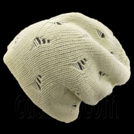 Warm Double Layer Wooly Slouchy Beanie Hat w/ Mutli Hole Pattern (BEIGE black)