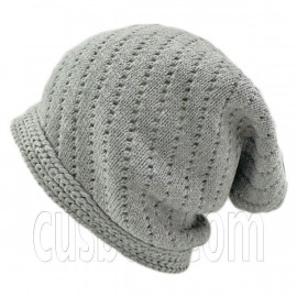Warm Plain Unisex Slouchy Beanie Hat w/ Tiny Hole (GRAY)