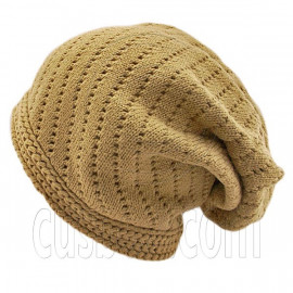 Warm Plain Unisex Slouchy Beanie Hat w/ Tiny Hole (LIGHT BROWN)