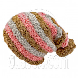 Unisex Striped Soft Slouchy Beanie Hat Christmas Party Crown (BROWN pink gray)